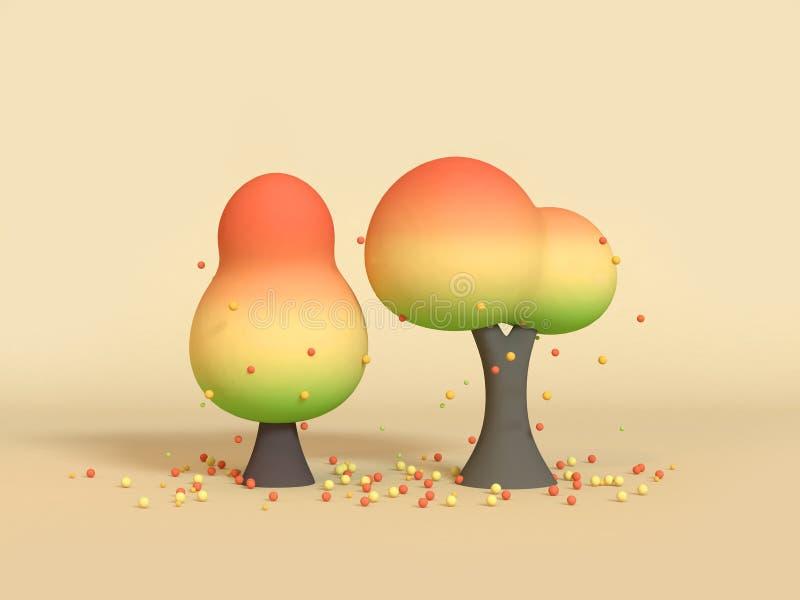 da rendição 3d estações da natureza da baixa dos desenhos animados da árvore queda poli verde amarela alaranjada/outono ilustração do vetor