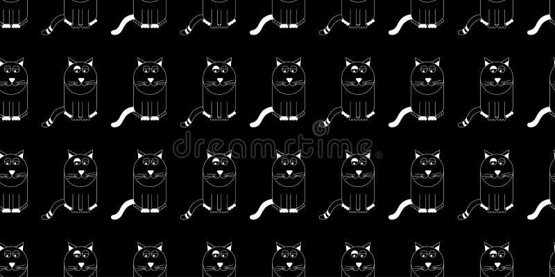 Da repetição bonito do gato dos desenhos animados do vetor teste padrão sem emenda Gatos brancos do esboço no fundo preto ilustração royalty free