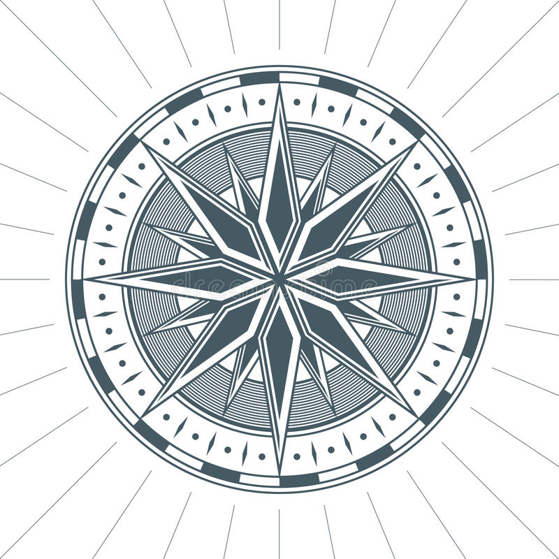 Da rosa antiga velha do vento do vintage emblema náutico da etiqueta do sinal do compasso ilustração stock