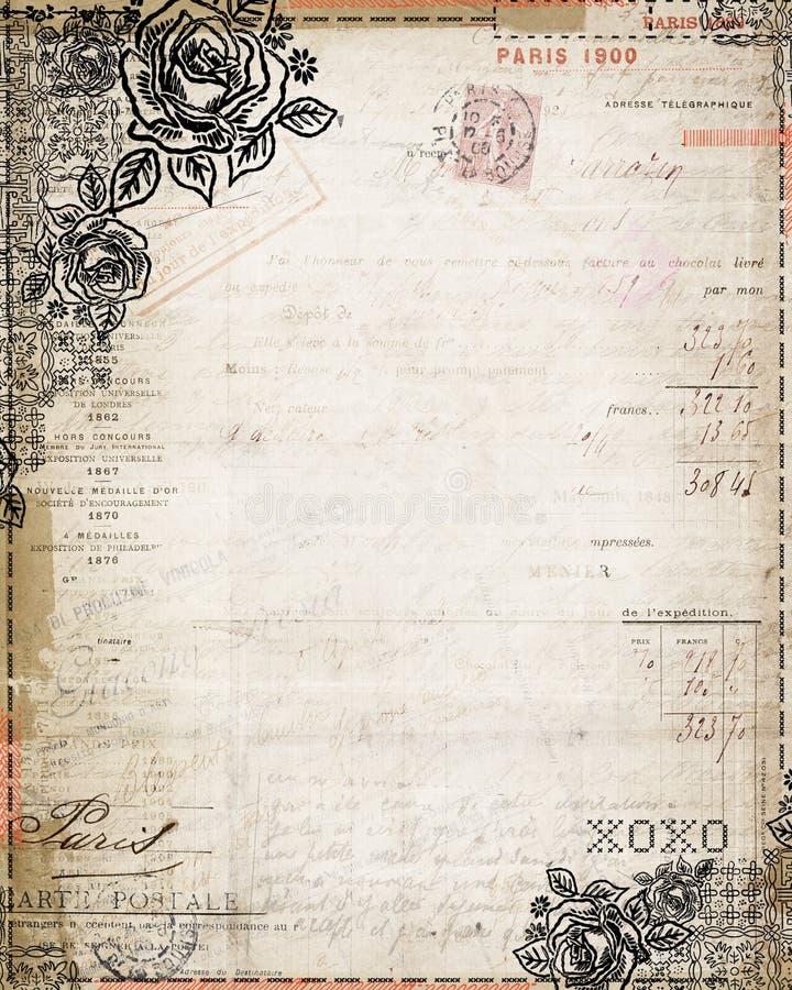 Da rosa gasto do chique do vintage factura francesa estacionária ilustração do vetor