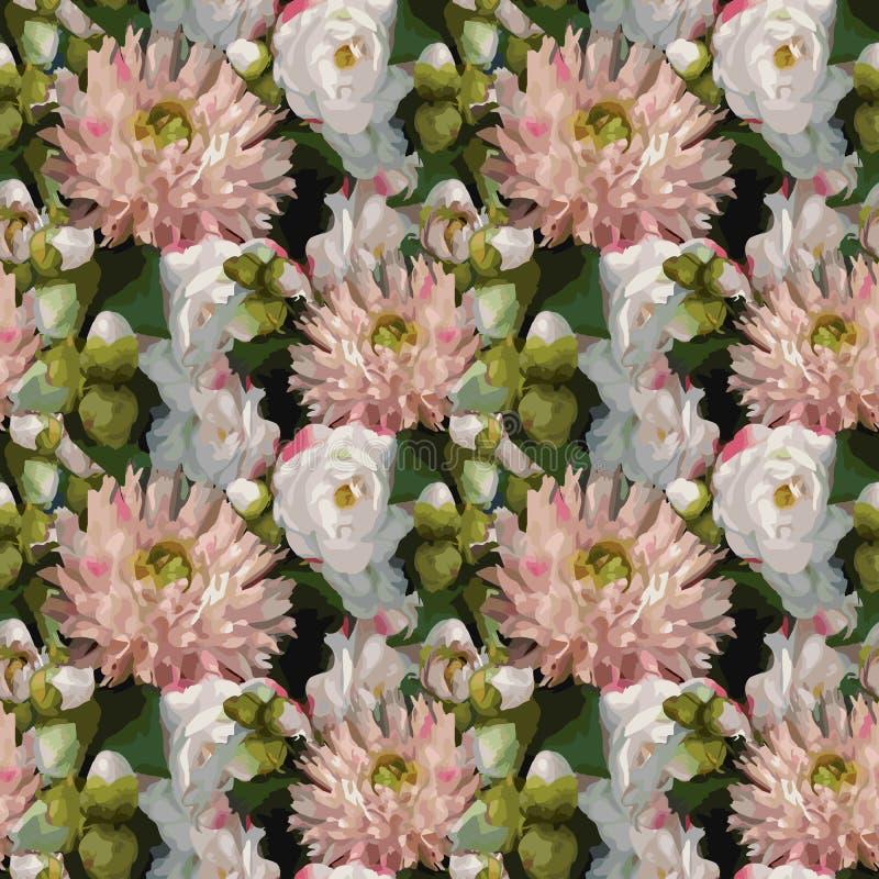 Da rosa romântica realística da dália da peônia da composição do ramalhete das flores da aquarela 3D vetor sem emenda do fundo da ilustração do vetor