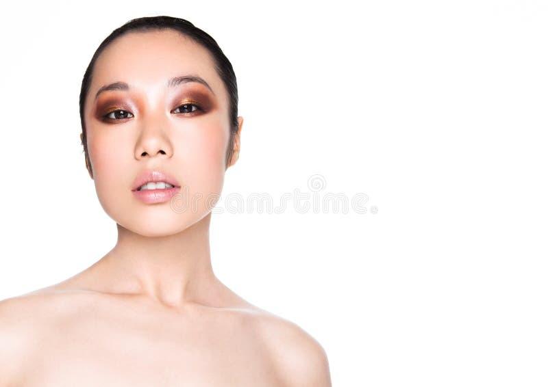 Da saúde asiática da mulher da beleza retrato cosmético da composição fotos de stock
