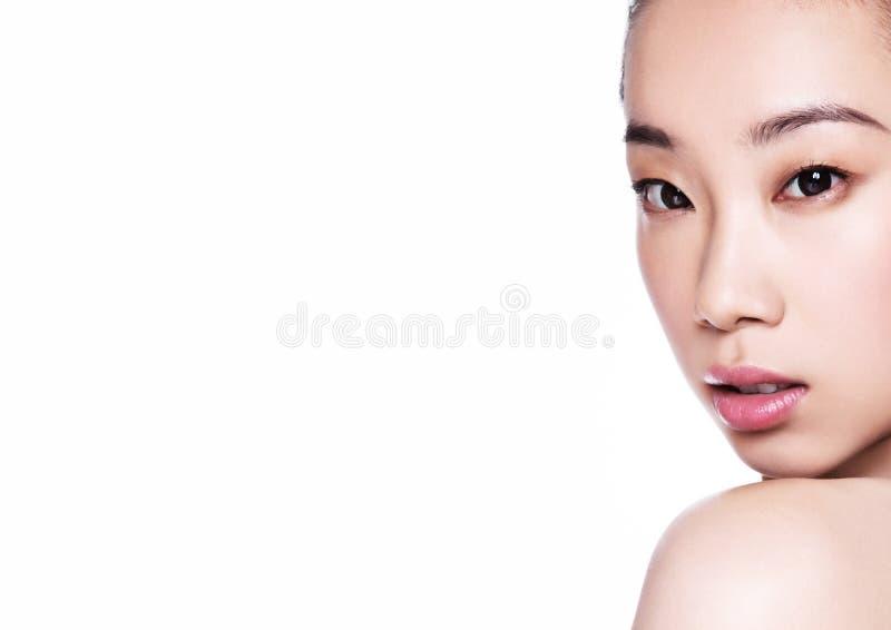 Da saúde asiática da mulher da beleza retrato cosmético da composição imagens de stock