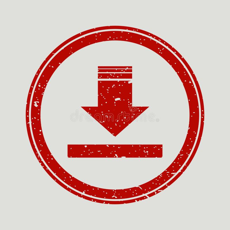 Da seta filigrana de borracha do selo do selo para baixo Símbolo do vetor do ícone com projeto do grunge e textura da corrosão Ti ilustração stock