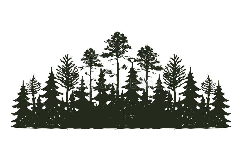 Da silhueta exterior do preto do curso da árvore crachá, cedro do ramo do abeto vermelho do pinho das partes superiores e sumário ilustração stock