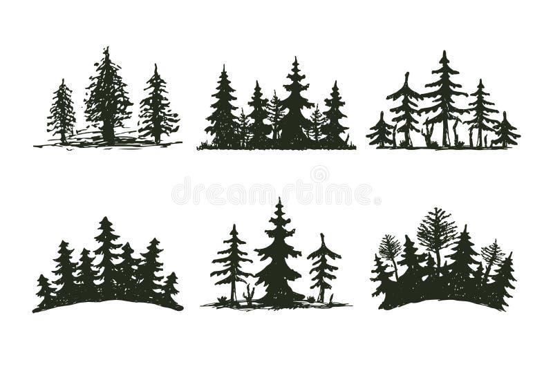 Da silhueta exterior do preto do curso da árvore crachá, cedro do ramo do abeto vermelho do pinho das partes superiores e sumário ilustração do vetor