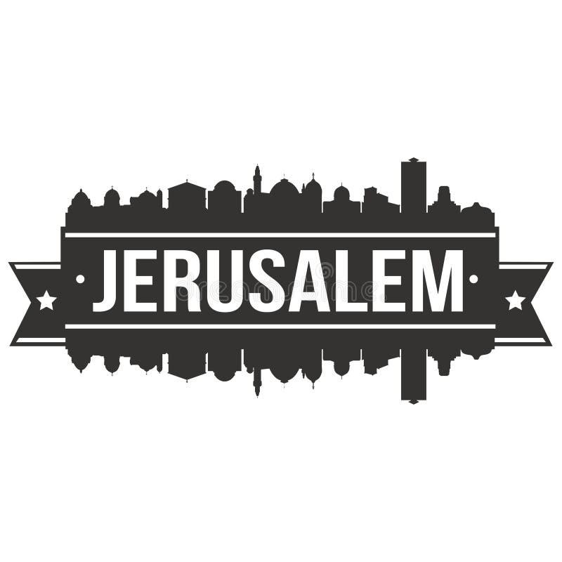 Da silhueta lisa da cidade da skyline do projeto de Israel Asia Icon Vetora Art do Jerusalém molde editável ilustração stock