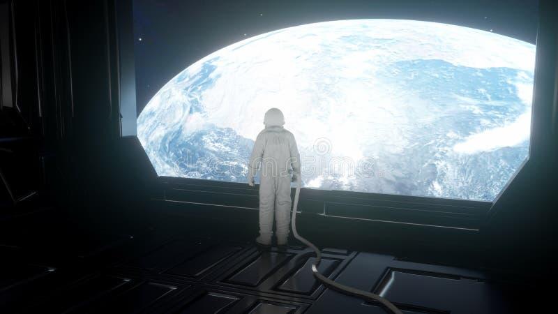 Da solo l'astronauta esamina il pianeta Terra nell'interno futuristico, la fine del pianeta Terra su illustrazione 3D illustrazione di stock