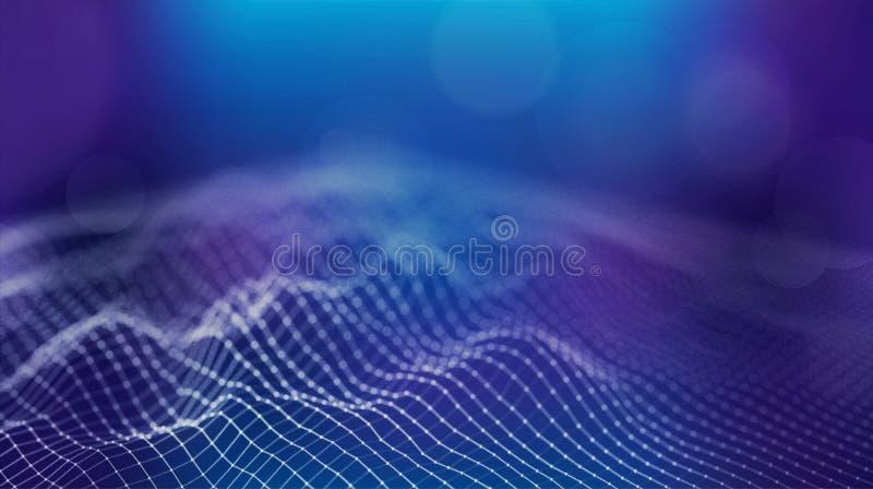 Da tecnologia futurista da grade do terreno de Wireframe fundo grande dos dados ilustração royalty free