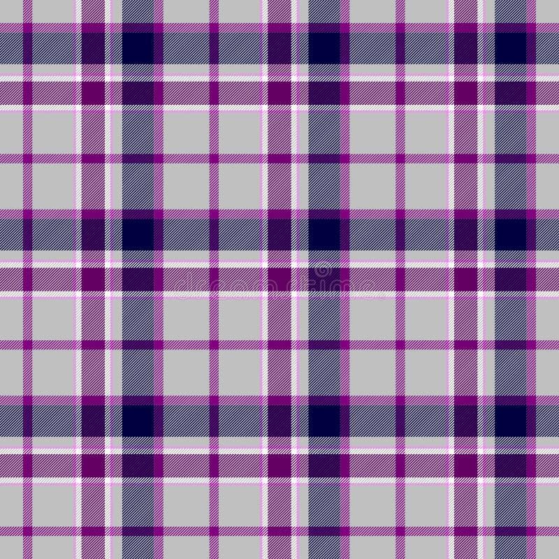 Da tela escocêsa do kilt da manta de tartã fundo sem emenda verificado da textura do teste padrão - cor cinzenta, cinzenta, roxa, ilustração royalty free