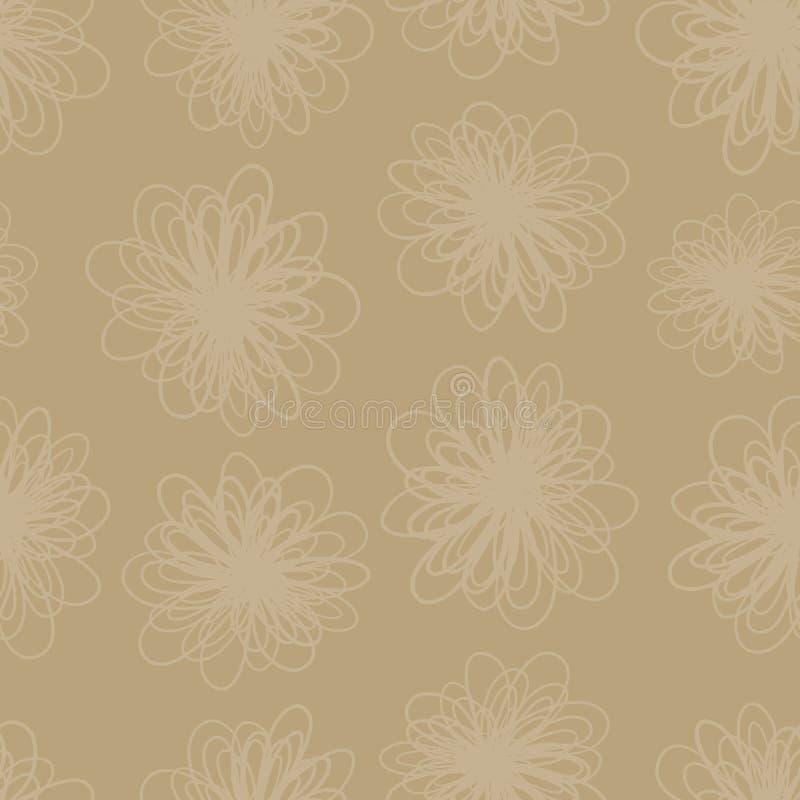 Da textura sutil da flor do tom da terra fundo sem emenda do vetor Repetindo o teste padrão do sumário floral em matiz marrons ilustração do vetor