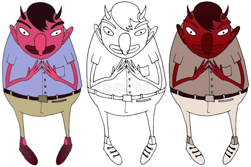 Da tra??o vermelha da m?o do monstro da garatuja da cor do diabo dos desenhos animados engra?ado feliz ilustração do vetor