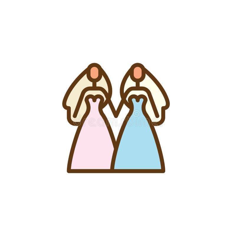 Da união lésbica de duas ícone liso mulheres ilustração royalty free