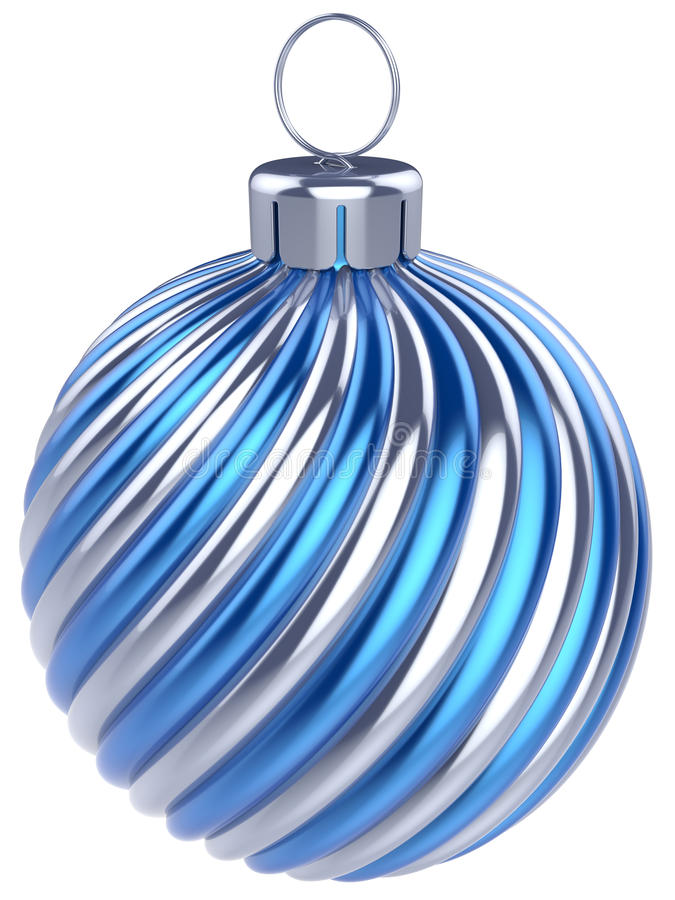 Da véspera da quinquilharia do Natal da bola da decoração anos novos da prata do azul ilustração do vetor