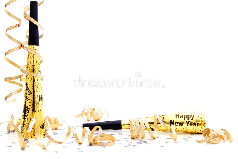 Da véspera do partido anos novos da beira do noisemaker imagens de stock royalty free