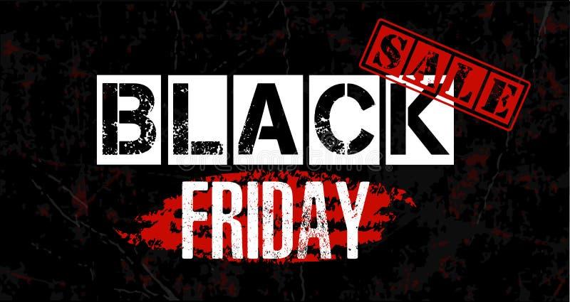 ` Da venda de Black Friday do ` - text a impressão do estêncil da bandeira no ponto vermelho da escova, marca do selo ilustração stock