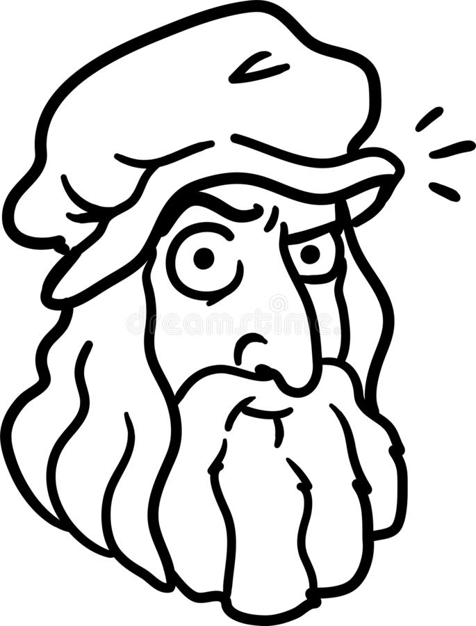 Da Vinci cartoon portrait. Funny caricature of the greatest inventor of the time - Leonardo di ser Piero da Vinci. Black. And white simple line doodle isolated royalty free illustration