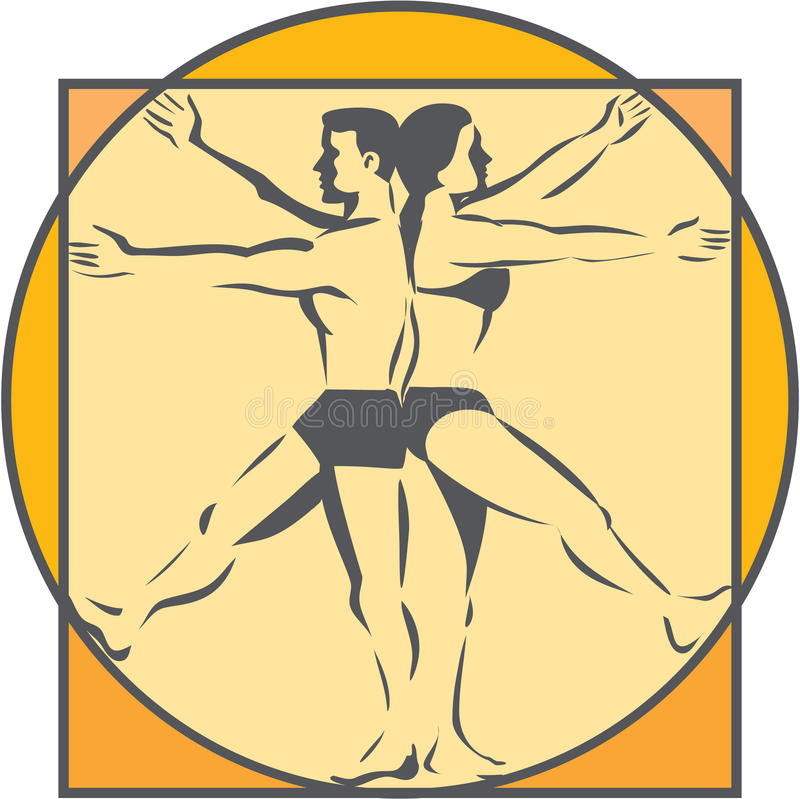 Da Vinci Male Female Side Arms lägger benen på ryggen linjen den Retro teckningen royaltyfri illustrationer