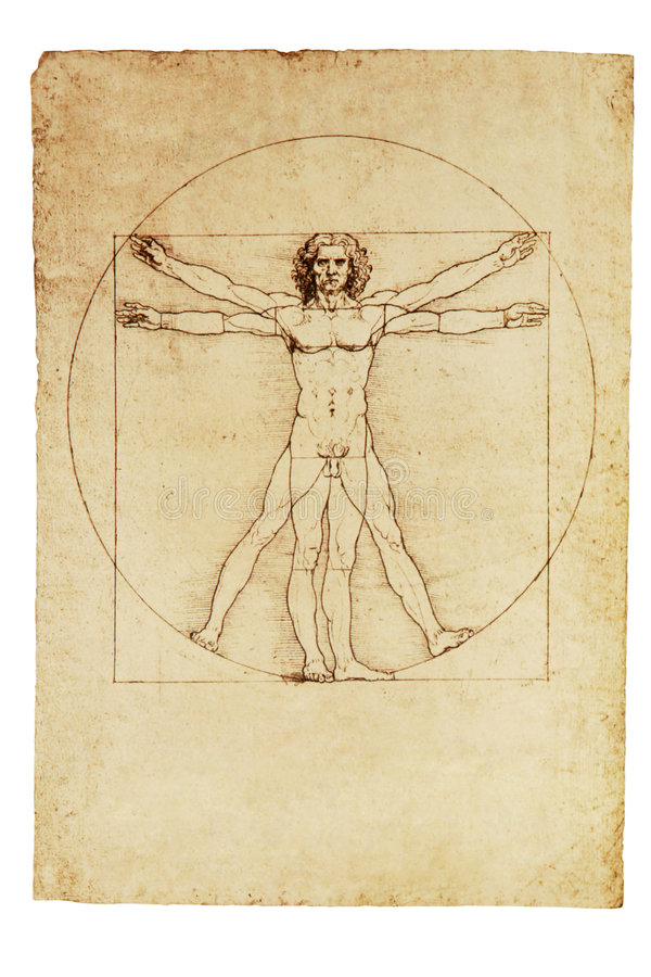Da Vinci's Vitruvian Man. Photo of the Vitruvian Man by Leonardo Da Vinci from 1492 royalty free stock photos