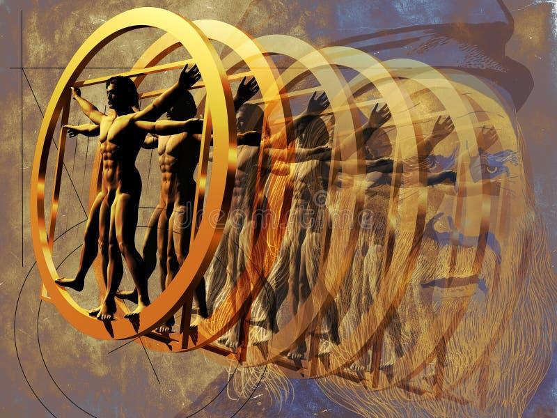 Da Vinci y hombre vitruvian ilustración del vector