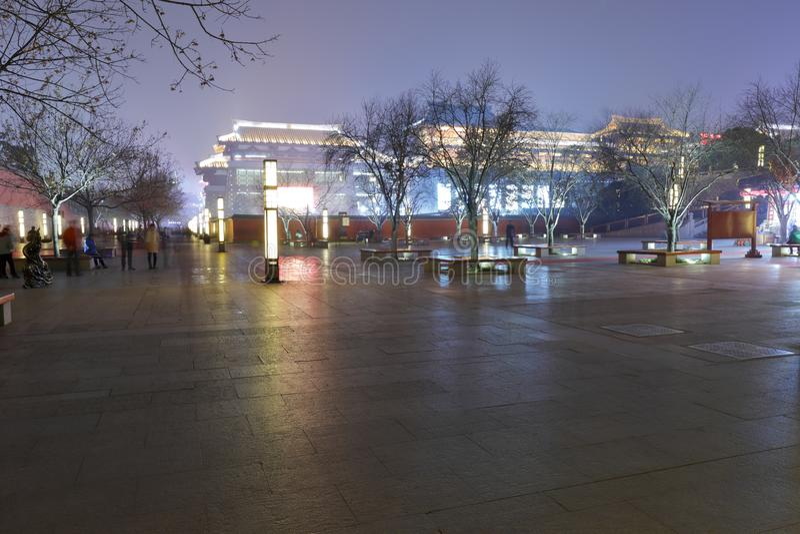 The da-yan tower scenic area night sight in winter, adobe rgb stock photography