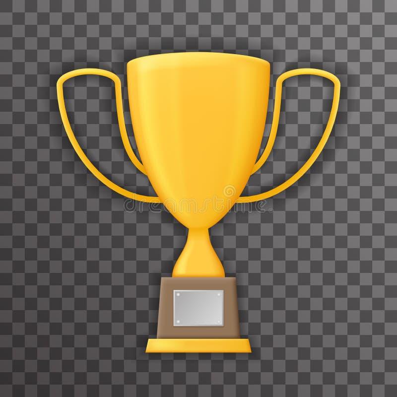 Da zombaria transparente do molde do ícone do copo do troféu do fundo do símbolo de Victory Prize Award Realistic 3d vetor ascend ilustração stock