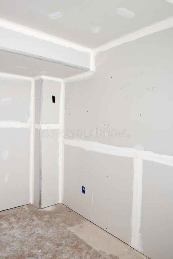 De Verbetering van het huis, Huis remodelleert, installeert Drywall stock fotografie