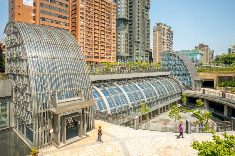 Daan Park-MRT post van metro van Taipeh stock afbeeldingen