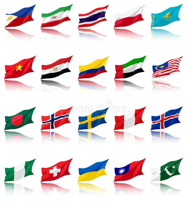 Daarna 11 en Andere Nationale Vlaggen stock illustratie