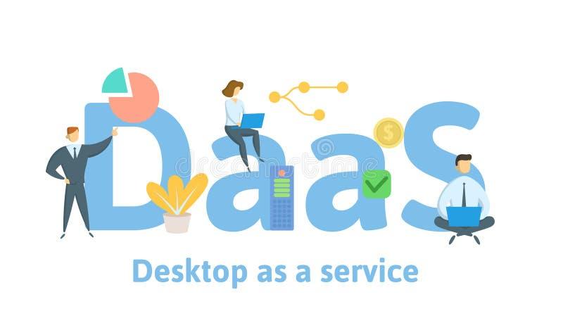 DaaS, рабочий стол как обслуживание Концепция с людьми, письмами, и значками Плоская иллюстрация вектора Изолировано на белизне иллюстрация вектора