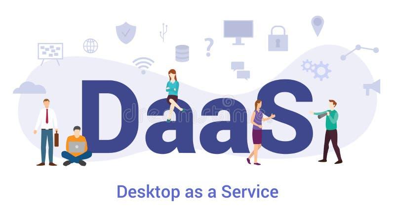 Daas desktop ως ιδέα υπηρεσίας με μεγάλα λόγια ή κείμενο και ομαδικά άτομα με μοντέρνο επίπεδο στυλ - διανυσματικό ελεύθερη απεικόνιση δικαιώματος