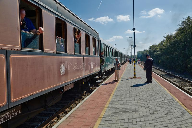 Steam train at station. DABAS, HUNGARY - SEPTEMBER 28, 2014: Steam train on the 125th anniversary, of the opening of Lajosmizse line stock image