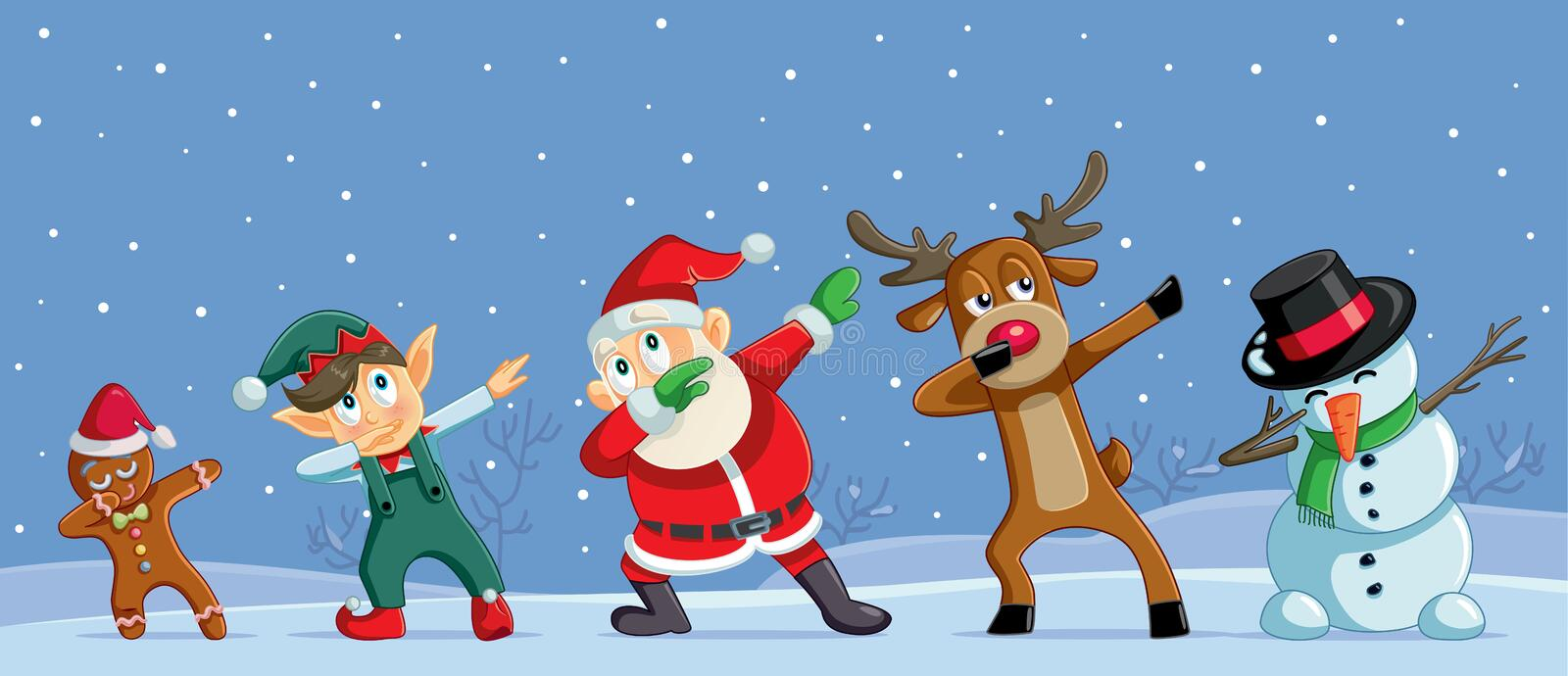 Dabbing Christmas Cartoon Characters Funny Banner stock illustration