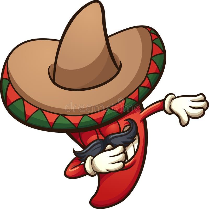 Dabbing Meksykański chili pieprz royalty ilustracja