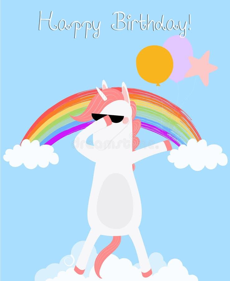 Dabbing Unicorn happy birthday card. Dab horse stock illustration