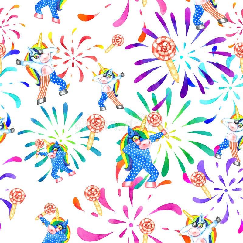 Dabbing unicorn seamless pattern. stock images