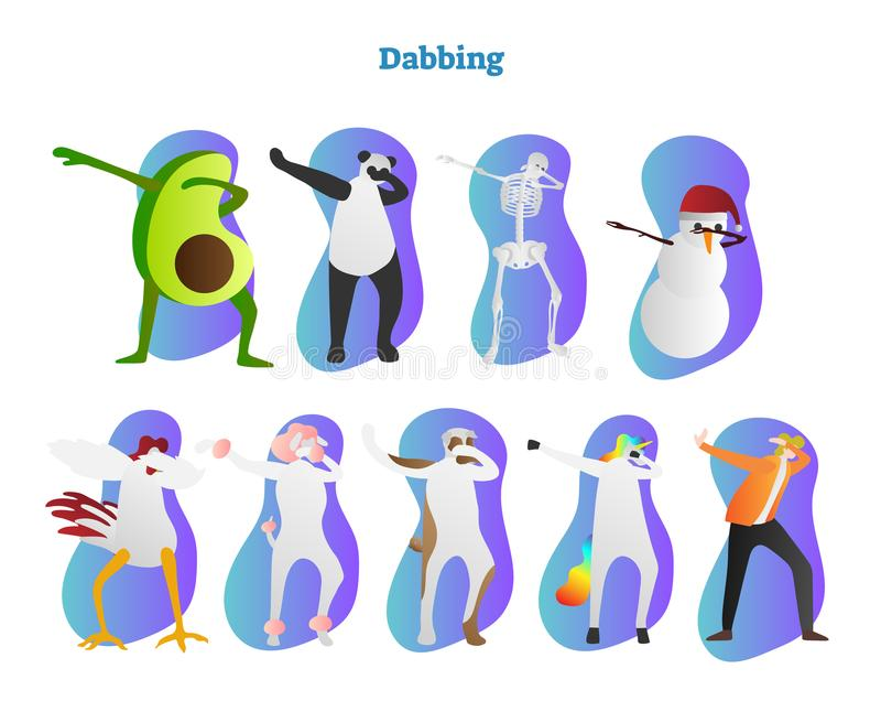 Dabbing vector illustration. Avocado, panda, skeleton and snowman Frosty is dropping head and showing famous hiphop dance move. Dabbing vector illustration stock illustration