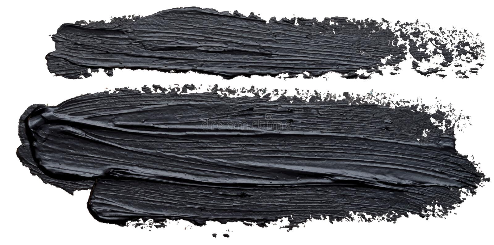 Dabs narrow and wide template black oil paint brush stroke stock illustration
