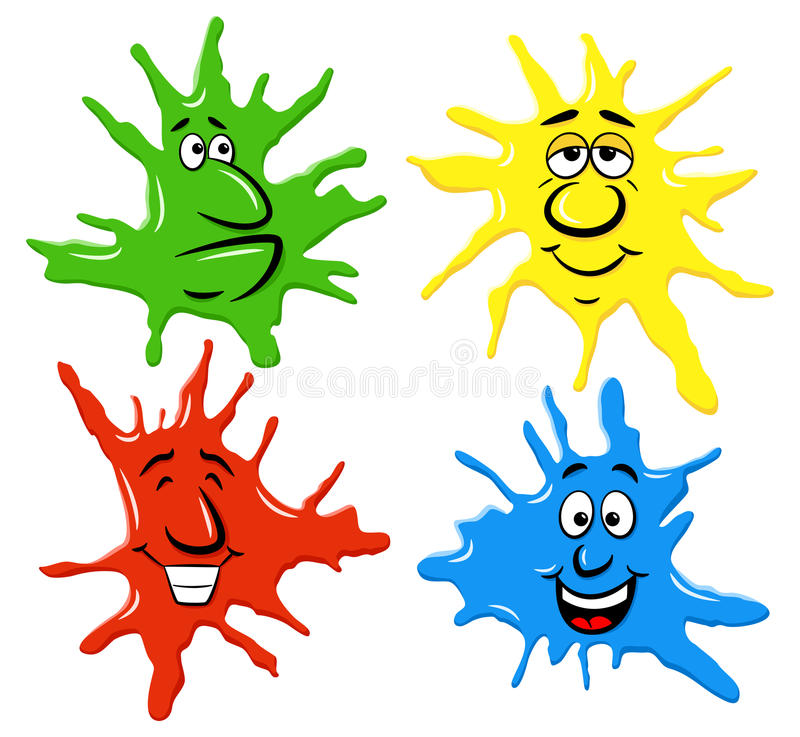 Dabs of paint with emotional faces. Vector illustration of dabs of paint with emotional faces vector illustration