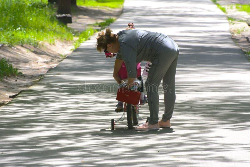 Dabushka e la nipote guidano una bicicletta nel parco della città immagini stock libere da diritti