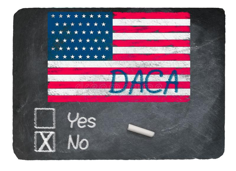DACA καμία έννοια που χρησιμοποιεί την κιμωλία στον πίνακα πλακών στοκ εικόνα με δικαίωμα ελεύθερης χρήσης