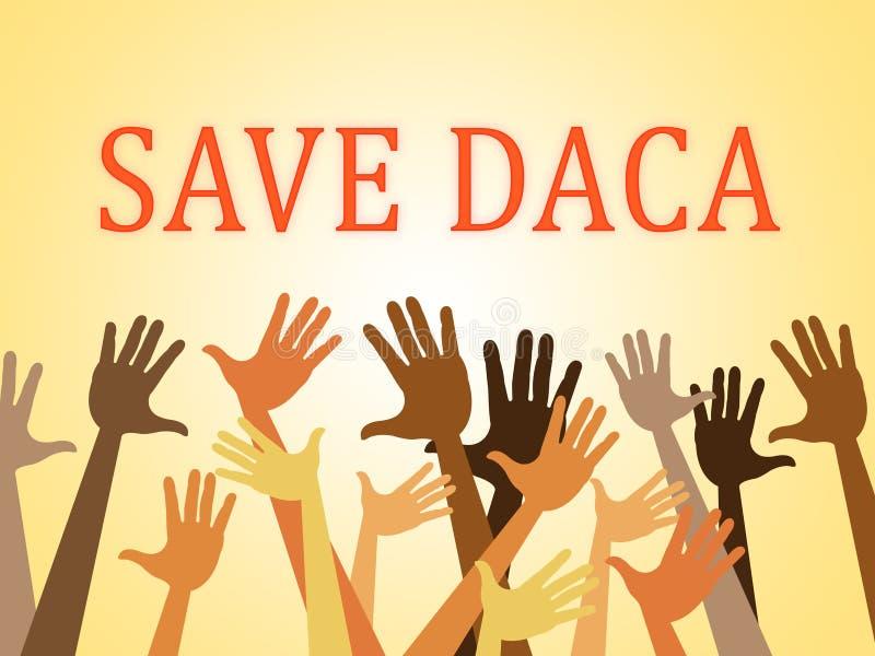 Daca protest som sparar drömmare för att handla vägen till medborgarskap - 2d illustration royaltyfri illustrationer