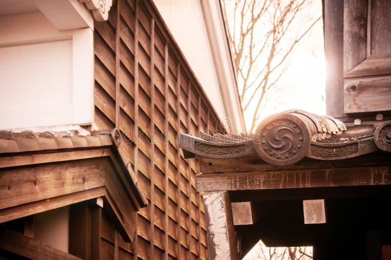 Dachów szczegóły przy Noboribetsu Datują Jidaimura stary Edo Historyczny Vill zdjęcie royalty free