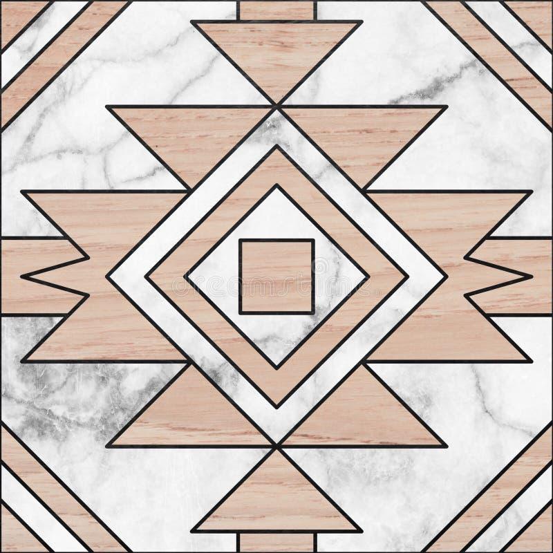 Dachówkowa podłoga, projekt od bielu marmuru i drewniany czarny kreskowego use bla, fotografia stock