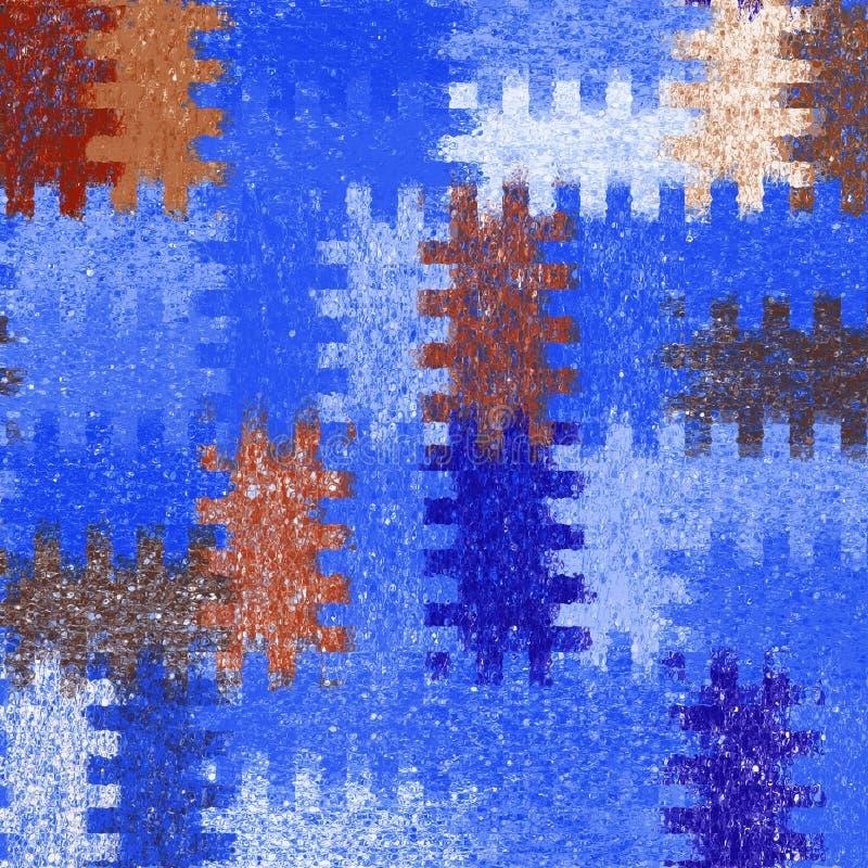 Dachówkowy tło z grunge plamiącymi kwadratowymi elementami w błękitnym, białym brązie, barwi ilustracja wektor