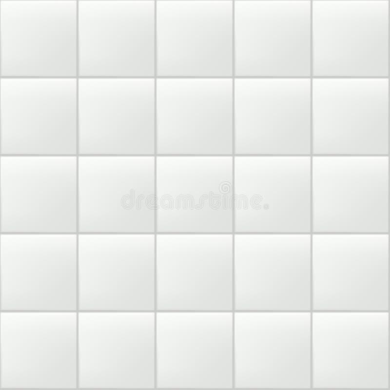 Dachówkowy wektorowy bezszwowy wzór Biel ściana lub podłogowa realistyczna ceramiczna tekstura Łazienka, kuchenna czyści pustego  ilustracji