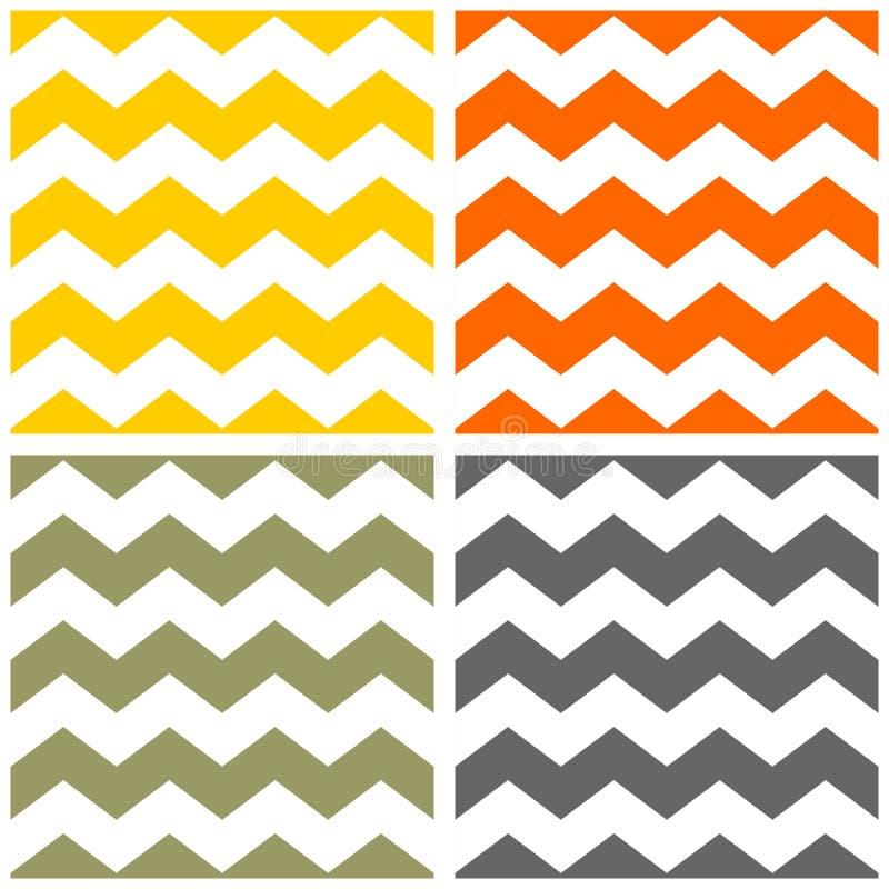 Dachówkowy wektoru wzór ustawiający z koloru żółtego, pomarańcze, zieleni, popielatego i białego zygzakowatym tłem, royalty ilustracja