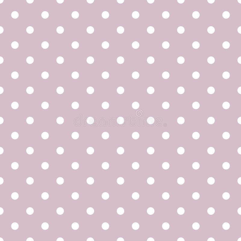 Dachówkowy wektoru wzór z małymi białymi polek kropkami na pastelowym fiołek menchii tle royalty ilustracja