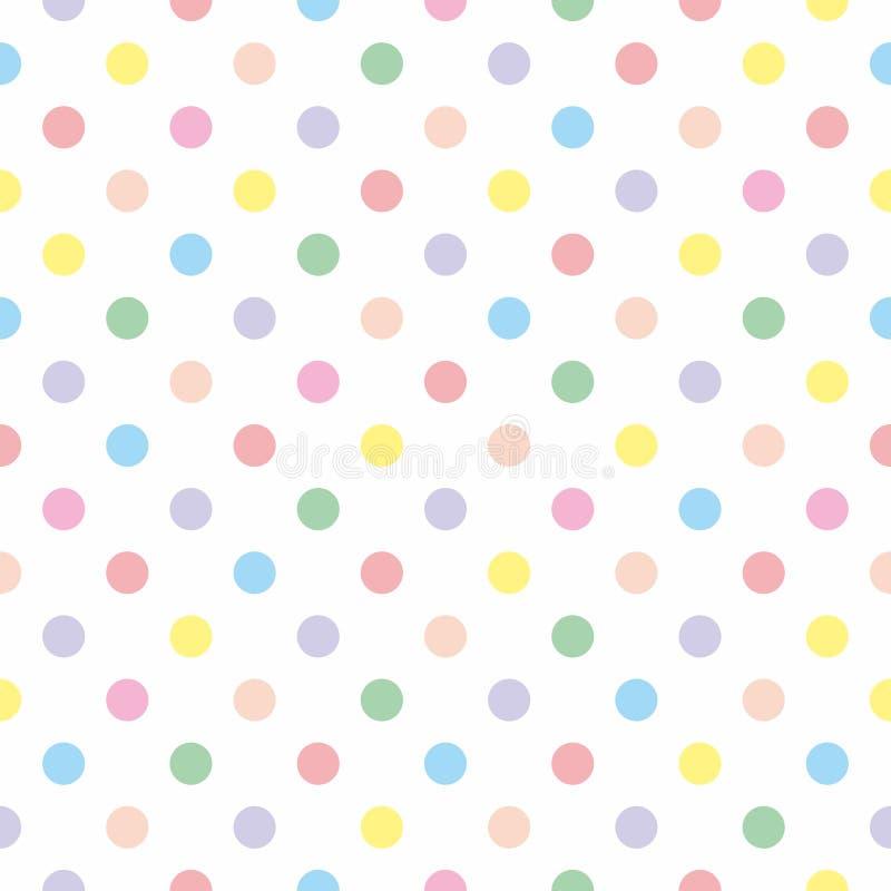 Dachówkowy wektoru wzór z pastelowymi polek kropkami na białym tle ilustracji