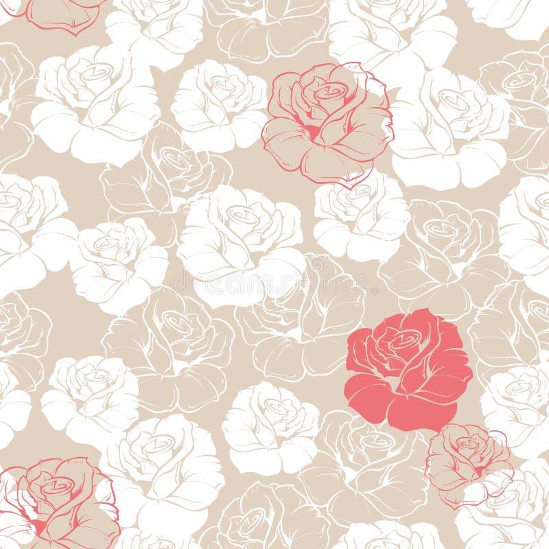 Dachówkowy wzór z różami na beżowym tle royalty ilustracja